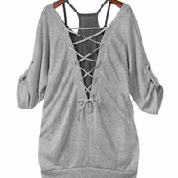 Korean Women Charming Personality Piece Cotton Gray Sexy Halter Tops (Size: M, Color: Gray) = 1929855108
