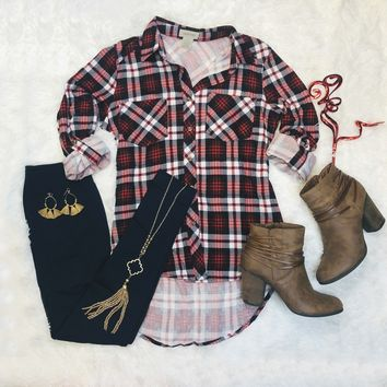 What I like about you Plaid Flannel Top: Red/Navy/White