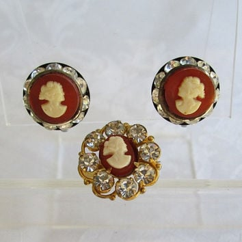 Old Cameo Set Pin Screw Earrings Rhinestones Vintage Figural Jewelry
