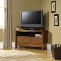 "Sauder August Hill Corner TV Stand for TVs up to 39"", Oiled Oak Finish - Walmart.com"