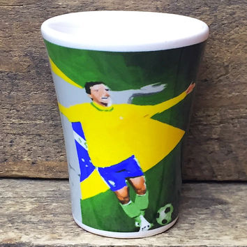 Collectible Brazilian Soccer Shot Glass stoneware