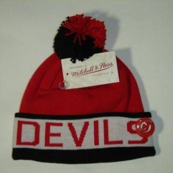 DCCKU3N Mitchell and Ness NHL New Jersey Devils 2 Tone Cuffed Knit Pom Beanie Cap with Pin