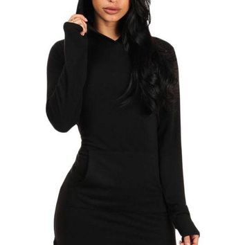 PEAP78W Black Long Sleeve Hooded Cotton Mini Dress