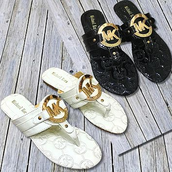 MK Michael Kors New fashion more letter print shoes slippers women