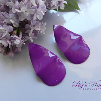 Purple Metal Earring/ Vintage Pierced Post Earrings