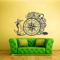Wall Decal Vinyl Sticker Decals Anchor Sea Ocean Octopus Compas Ship Boat z1675