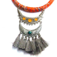 ETHNIC statement necklace with colorful ROPE, silver pendant and gray TASSELS, avant garde, ootd, ooak, contemporary jewels, gypset necklace