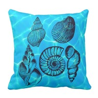 Aqua Whimsical Sea Shells Throw Pillow