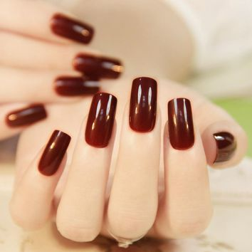 24Pcs Wine Red Christmas New Year Fake Nails With Design Artificial Nails Tip with Adhesive Glue Sticker UnhasTips Manicure Tool