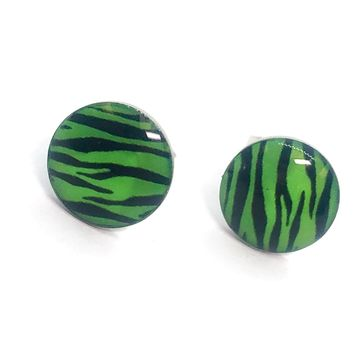 ON SALE - Green Tiger Striped Enamel Button Stud Earrings