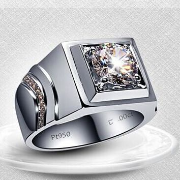 Surprise Men Ring Brilliant 1Ct Round Cut Synthetic Diamonds Ring Solid 925 Sterling Silver Ring White Gold Color Men Jewelry
