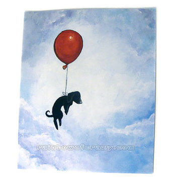 Sale: Dog Print // MINOR DEFECTS // Black Dog, 8x10 Wall Art, Red Balloon, Dachshund Artwork, Flying Animal Illustration, Pet Decor
