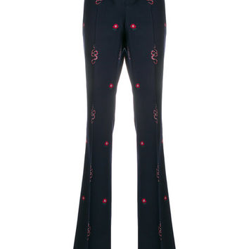 Gucci Kingsnake And Floral Embroidered Trousers - Farfetch