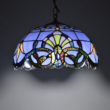 Tiffany Pendant Light Baroque Style Hanging Lamp 12 Inch Stained Glass Suspended Luminaire E27 110-240V