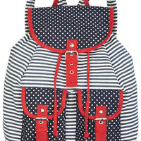 Navy Dot/Stripe Backpack