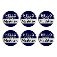 Madden Hello My Name Is Plastic Resin Button Set of 6
