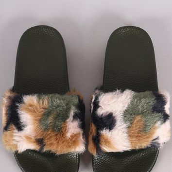 Camouflage Faux Fur Open Toe Slide Sandal