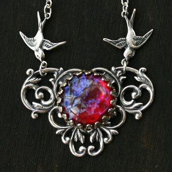 Dragon Breath Necklace with Flying Birds - Mexican Fire Opal
