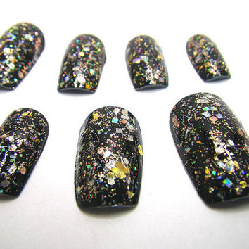 Glue on Nails - Rainbow Holographic Glitter EXCLUSIVE