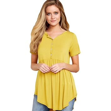 Yellow Button Front Babydoll Flowy Tee Top with Pleats