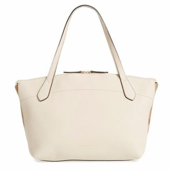 Burberry Women's Medium Welburn Check & Leather Tote Bag, Limestone, MSRP $1,250