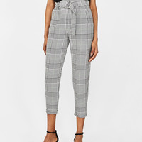 Plaid paperbag pants - New - Bershka United States