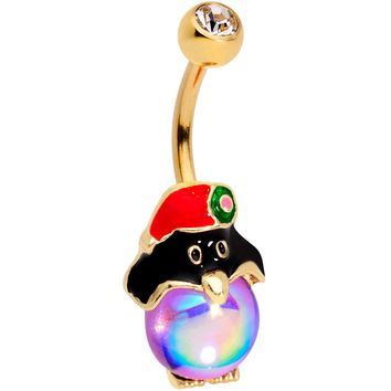 Clear Gem Gold Tone Iridescent Holiday Penguin Belly Ring