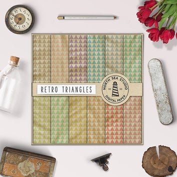 Retro Triangle Digital Paper Vintage Triangles Paper Vintage Background Folded Crumpled Paper Shabby Background 12x12 Inches Commercial Use