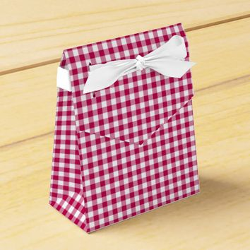 Gingham-Dark Pink-Favor Box, Tent Favor Box