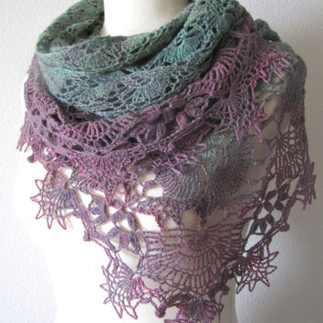 Gradient Olive Green To Plum Purple Shawl Crochet Hand Dyed 100% Merino Wool Yarn Handmade Versatile Lightweight Lace Wrap Scarf