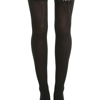 Blackheart Black Lace-Up Thigh Highs