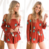 Burgundy Slash Neck off Shoulder Long Sleeve Floral Print Romper
