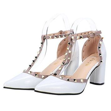 Tanpell Womens Pointed Toe Studded Strappy High Heels Rivet Ankle Strap Pumps