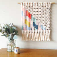 Woven macrame wall hanging | multi-coloured lightning