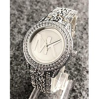 "Hot Sale ""MICHAEL KORS"" MK Popular Ladies Men Delicate Diamond Quartz Movement Wristwatch Watch Silvery I11963-1"