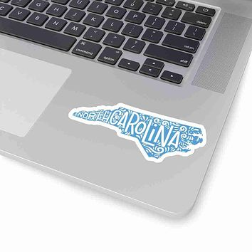North Carolina State Shape Sticker Decal - Carolina Blue