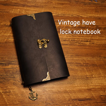 New vintage lock notebook geniune leather cover travel journal notebook filler planner kraft paper school supplies notebook