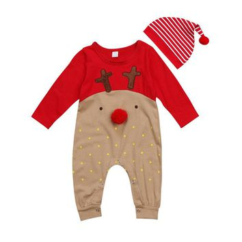Pudcoco 0-24M Cute Deer Baby Boy Girl Christmas Fall Polka Dot Romper Patchwork Xmas Stried Hat Jumpsuit Clothes Cartoon Outfits