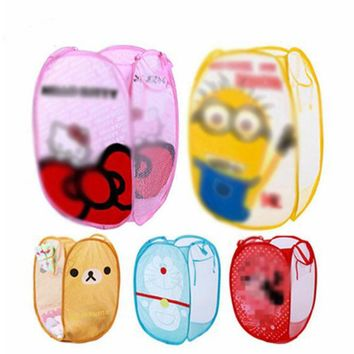 Minions Hello And Kitty Folding Dirty Clothing Laundry Bucket Storage Basket Children's Toys Shoe Sundries Storage Organizer
