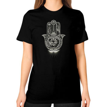 Hamsa Hand of Fatima Unisex T-Shirt (on woman)
