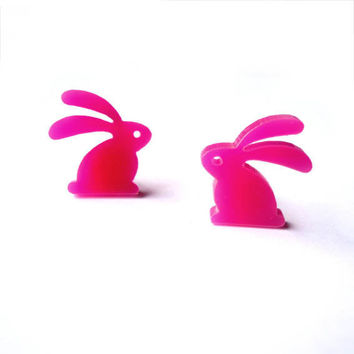 PINK BUNNY EARRINGS by iloveyoujewels on Etsy