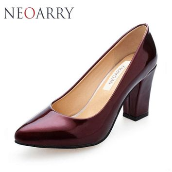 NEOARRY New Atumn Spring Women Thick HIgh Heels Pumps Retro Fashion Pointed High-heeled Shoes Female Single Heel Shoes JT534
