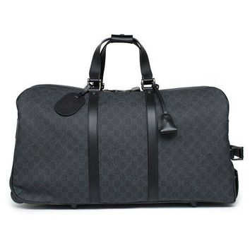 DCCK Gucci Duffle Luggage GG Supreme Carry On Bag Black Signature GG Leather New