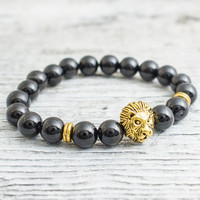 Black onyx beaded gold Lion head stretchy bracelet, made to order yoga bracelet, mens bracelet, womens bracelet