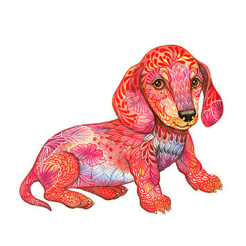 Dachshund Puppy // SALE 3 for 2 // tiny dog art print, pet illustration, size 10x8 (No. 54)