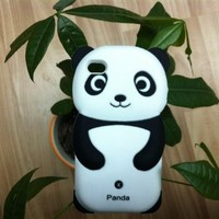 Leegoal Black&White Lovely Panda 3D Soft Shell Case for iPhone 4 4S