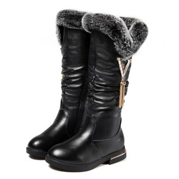 Winter 2017 Girls Patent Leather Plush Knee-high Snow Boots Rabbit Hair Fashion Warm Fur Rubber Boots For Child Booties