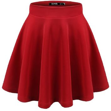 Thanth Womens Versatile Stretchy Pleated Flare Skater Skirt