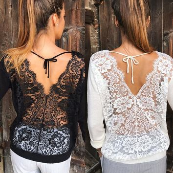 Trendy Sexy Women clothes Long Sleeve Loose Lace round neck Blouses Casual pullover Backless cotton Shirts one pieces