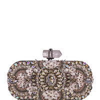 Marchesa Lily Medium Embroidered Oval Clutch